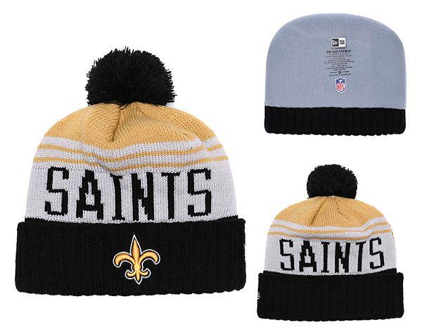 Men's New Orleans Saints New Black 2018 Sideline Cold Weather Official Sport Knit Black Team Logo Cuffed Hat 01