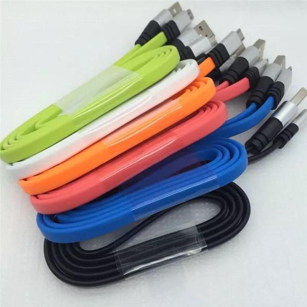 Metall Flat Nodle V8 Micro-USB-Kabel 3FT-Kabel Ladegerät 2A Data Sync Support Schnellladung für Handy mit Paket