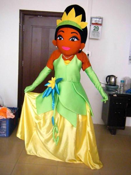 2019 buen precio con traje de mascota de tiana de alta calidad adulto Tiana princesa mascota para fiesta de niños