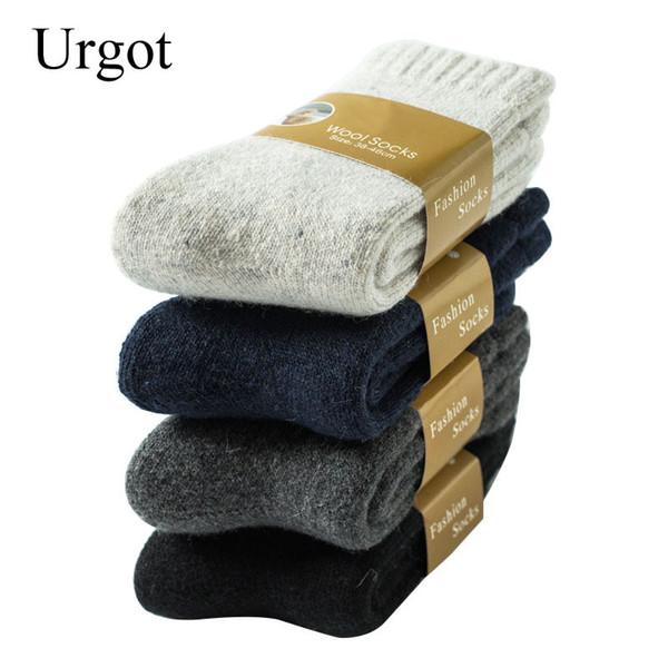 Urgot 3 paires chaussettes hommes en laine d'hiver Super épais chaud Solide Couleur Noir Woollen thermique Casual Male sommeil Chaussettes hommes Sox Calcetines