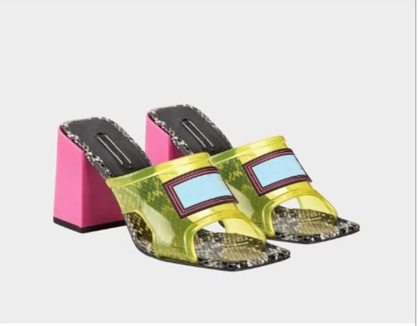 Transparan Kadın Orta Topuk Sandalet, Yüksek Topuk Katırları Deri Üstlü PVC Üstler, İtalya'da Yapılmış 9 cm Büyüklük 35-41