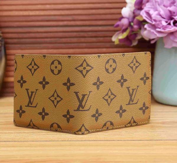 2020 bolsa de hombre cuadros estilo Paris Designe la carpeta del Mens famosos monederos del zurriago de los hombres de lujo de doble pliegue múltiple corta pequeña Cartera billetera con la caja