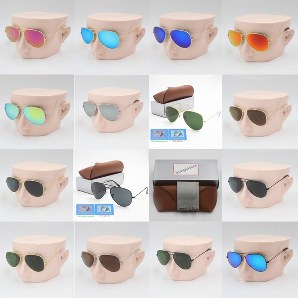 1pcs designer brand new classic pilot sunglasses fashion women sun glasses UV400 gold frame green mirror 58mm lens with box