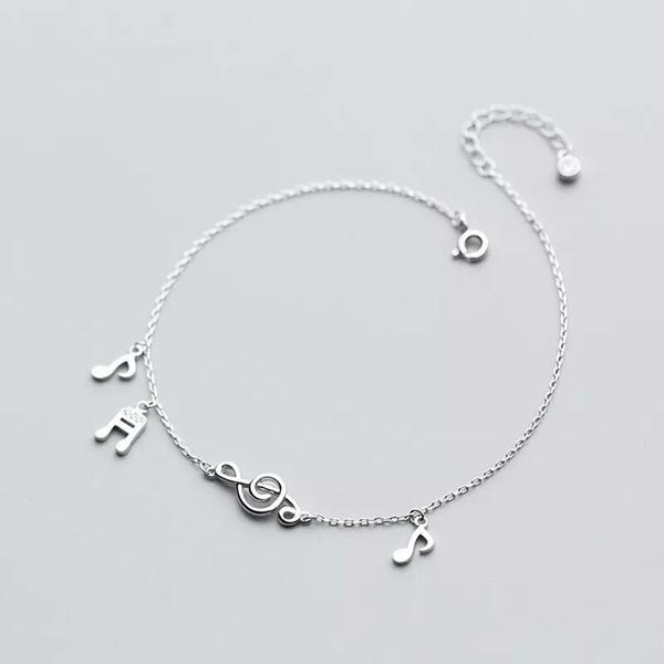 925 plata esterlina linda nota de la música para el tobillo del encanto para la joyería de plata de las mujeres pulsera de tobillo en la pierna cadena ajustable Longitud S2358