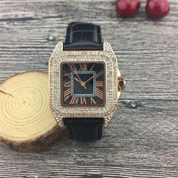 New Luxury Women Watch Diamonds Quartz Lady marque en acier inoxydable Montres strass Rose d'or Montres-bracelets Horloge Cadeaux Relogio Feminino