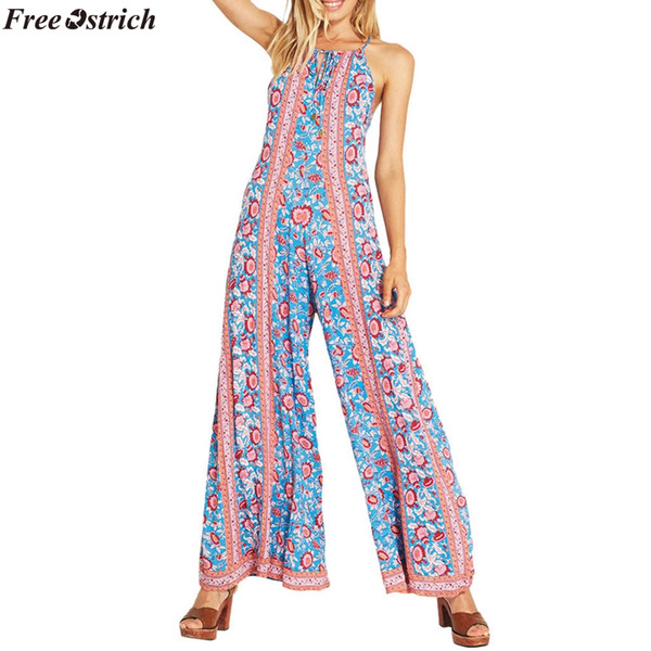 FREE OSTRICH Women Fashion Slim Printed Sling Backless Long Jumpsuits ladies Beach Casual Loose Lace Up Summer Rompers Plus Size