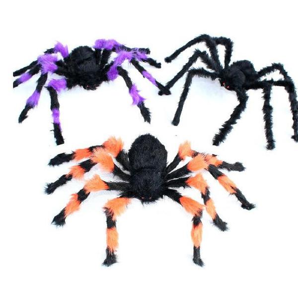 5pcs Halloween araignée 30cm grande marionnette en peluche araignée colorée jouets décoration Halloween