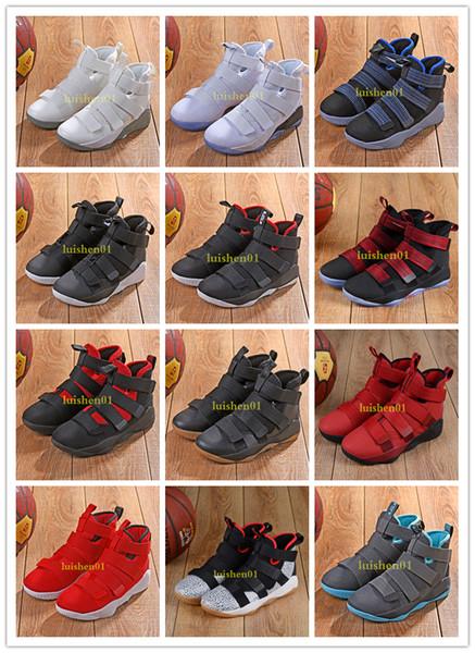2019 nouveau James Soldier XI 11 Marine Chaussures de basketball pour hommes LeBron Soldier XI 11 Noir / Rouge / Blanc Une variété de chaussures de sport de couleur 7-12 c01