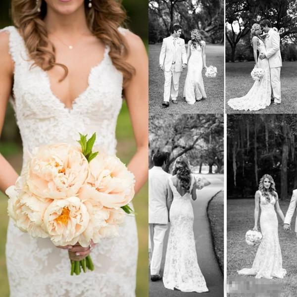 Vintage Full Lace Wedding Dresses Deep V Neck Backless Sleeveless Mermaid Chapel Train 2018 Vintage Summer Wedding Bridal Gowns Plus Size