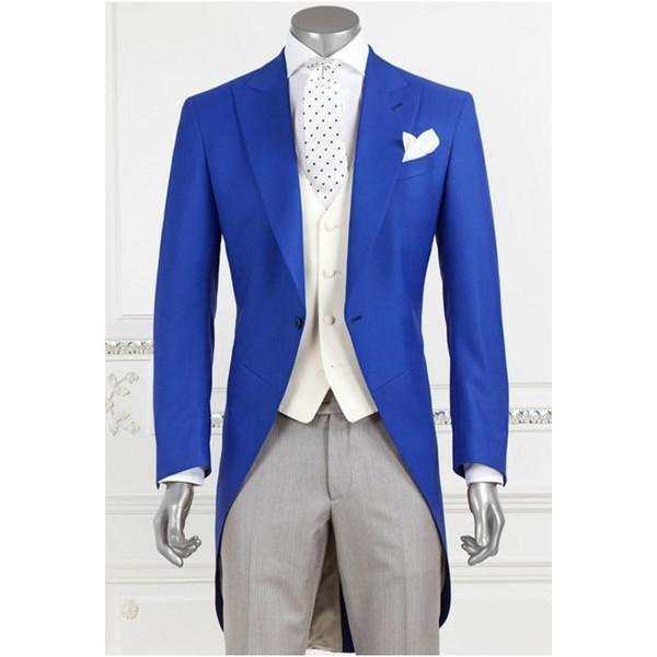 Großhandel Custom Made New Style Frack Bräutigam Blau Männer Hochzeit Smoking Formelle Anzüge WeddingProm Männer Anzüge Jacke + Weste + Hosen Y300 Von