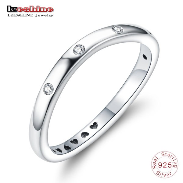 LZESHINE S925 Silver закрученная DROPLETS Кольцо с Clear CZ стерлингового серебра Stackable палец кольцом для ювелирных изделий женщин Engagement
