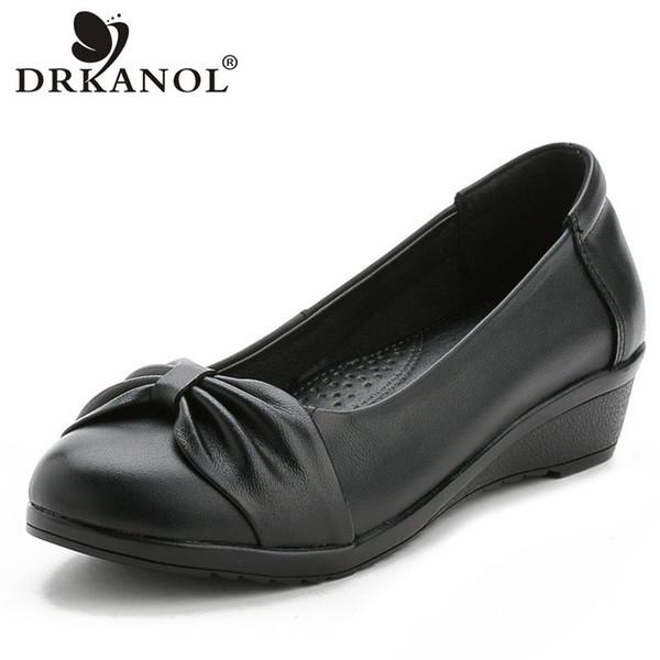 DRKANOL 2019 Slip cuero auténtico en los zapatos ocasionales de las mujeres Bombas Concisa Negro Bowknot Bajo Zapatos tacones de cuña del dedo del pie redondo madre