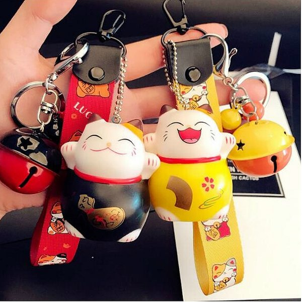 1PC Fortune Cat Keyring Lucky Beckoning Cat Bell Keychain Cartoon Animal Key Ring Car Hanging Jewelry Gift YLM9730