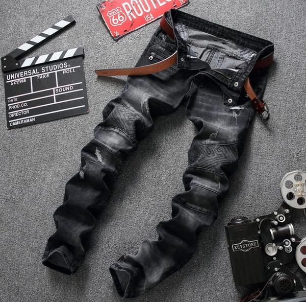 Acquista Jeans Strappati Da Motociclista Strappati Da Uomo VINTAGE Pantaloni Pieghettati Slim Fit Uomo Moto Denim Hip Hop Punk Streetwear Da Uomo A