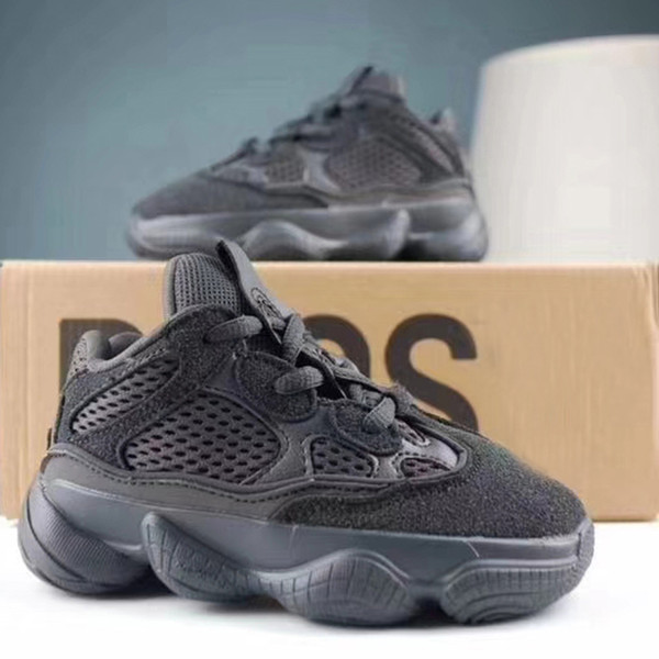 separation shoes 1150b 269e7 Retro All Black Kids Shoes Wave Runner 500 Kanye West Running Shoes Baby  Girl Boy Trainer Sneakers Children Athletic Shoes Best Running Shoes For  Kids ...