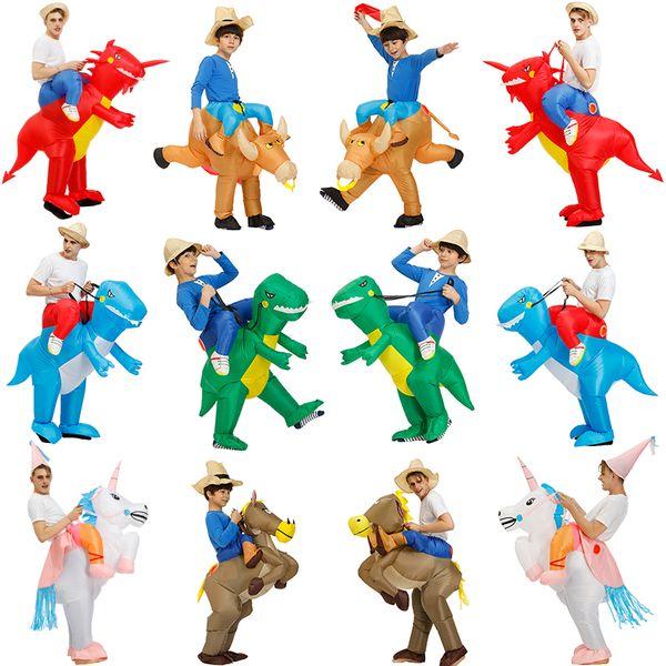 Hot Adulto Crianças Inflável Dinossauro Traje Unicórnio Cowboy Cosplay Roupas Trajes de Halloween Para As Mulheres Homens Partido Macacão Terno J190625