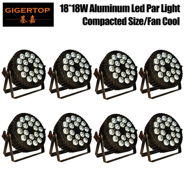 Freeshipping 18 x 18w led lamp beads 6 color led Par lights RGBWA UV 6in1 flat par led dmx512 disco lights professional stage dj equipment