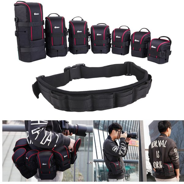 Photo Adjustable Strap DSLR Padded Camera Waist Belt Holder w/ Nylon Functional Soft Padded Lens Bag Pouch Case for Canon Nikon Photo