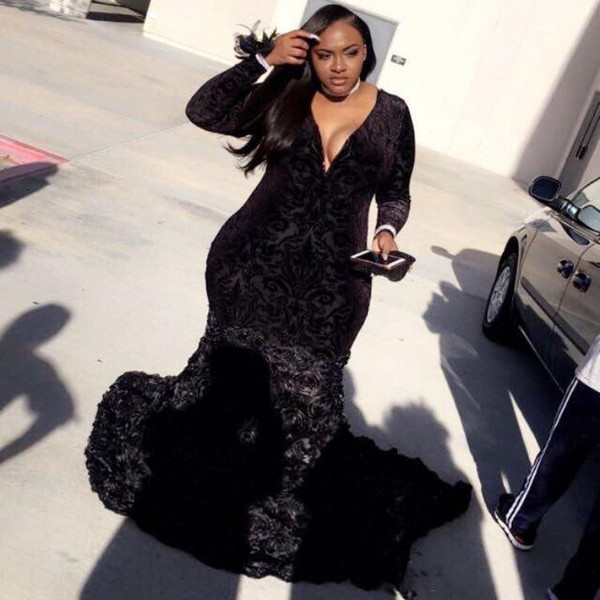 Black Plus Size Prom Dresses With Deep V Neck Appliques Lace Velvet Mermaid Evening Gowns Long Sleeve Back Girls Formal Party Dress Vestidos