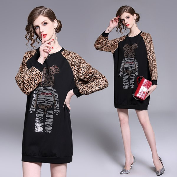 Real shot spot spring and summer cross-border foreign trade women's diamond mosaic leopard European station feminine dress