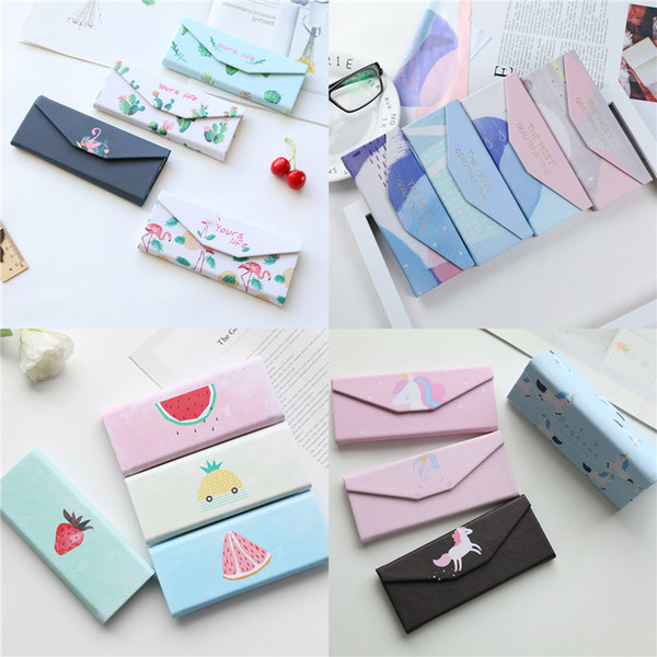 Pu Spectacle Cases For Eyeglasses With Customized Clean Cloth Folding Sunglasses Box Portable Triangle Eyewear Protector