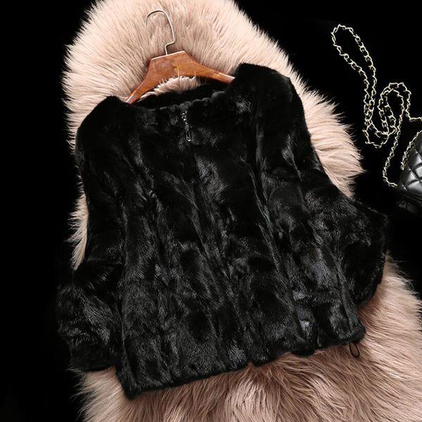 2019 Marca superior de la manera 100% puro genuino Escudo de piel de visón tiene cremallera y cálida chaqueta de piel de visón real gratuito Tamaño Y190916 tsr349