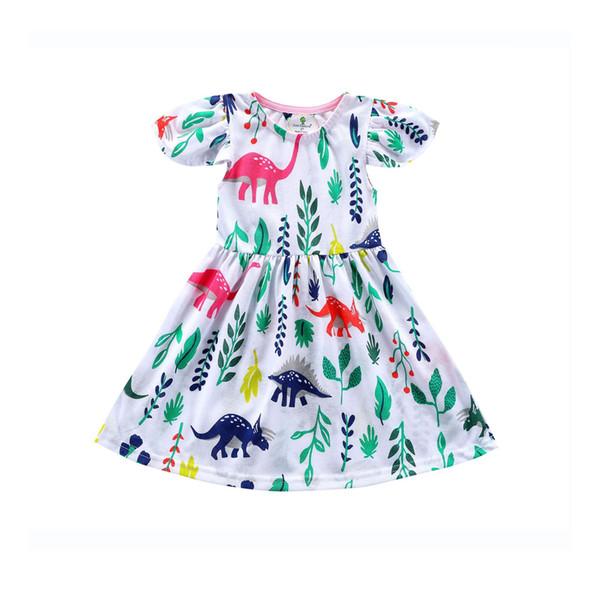 Perakende Kız elbise Yaz Hayvan Karikatür Pamuk Rahat A-line Prenses Elbise bebek kız elbise çocuklar giysi tasarımcısı kızlar Çoc ...
