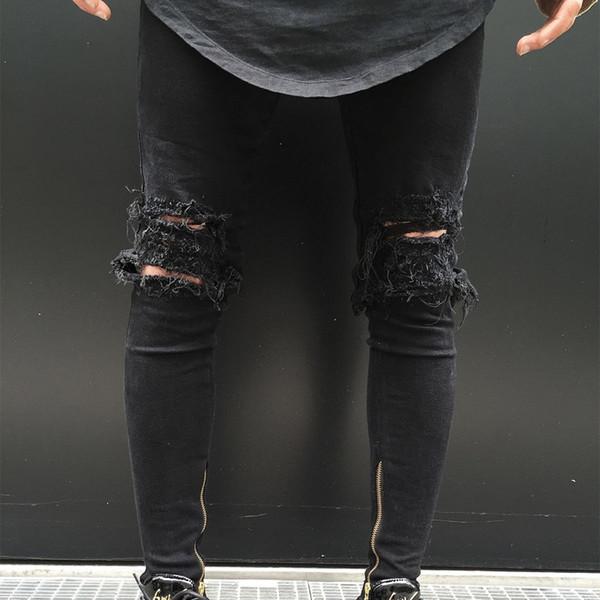 1c4878d167bf Großhandel Männer Zerrissene Löcher Reißverschluss Dünne Schwarze Jeans  Reißverschluss Elastische Füße Jeans Slim Fit Junge Hosen Neue Mode ...