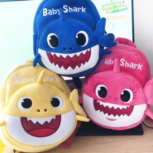 2019 Nuevo Cartoon School Shark Baby School Bag para niños Niños Cute Plush School Backpack Shark Baby Blue Rose Color amarillo Niños Mochila C21