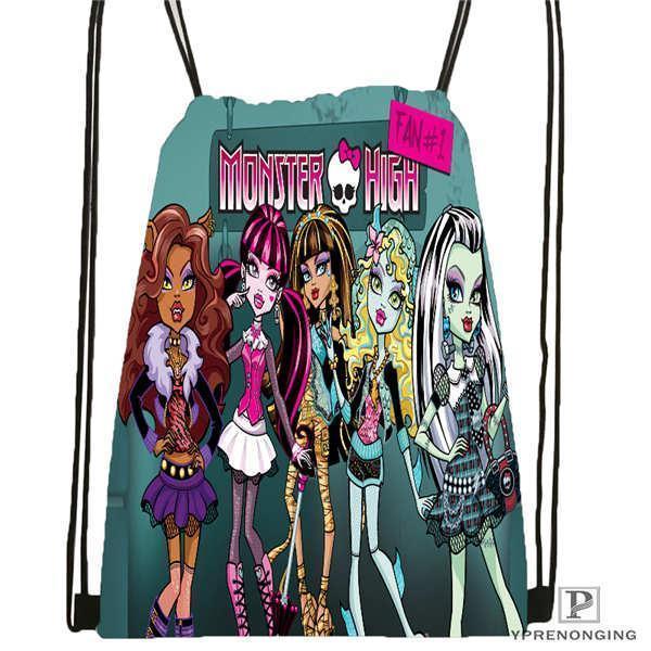 Pop2019 Personalizado Youloveit_ru_monster_high Saco de Cordão Mochila Bonito Daypack Crianças Satchel (Black Back) 31x40 cm # 180611-01-42
