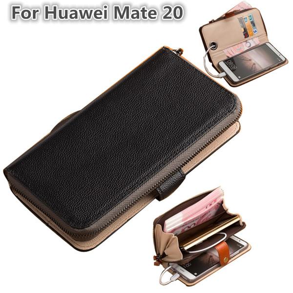 Çok fonksiyonlu telefon çanta için Huawei Mate 20 telefon çanta kılıf Huawei Mate 20 için cüzdan kart sahipleri ile standı coque