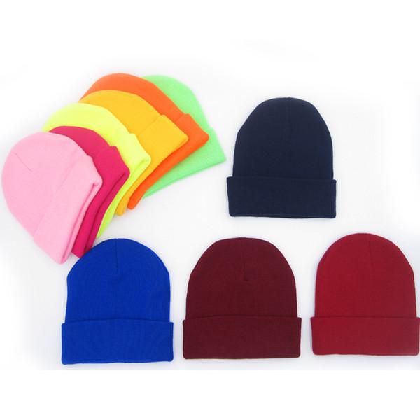 Mode Beanie Strickmütze Trendy fluoreszierende Farbe Beanies Jungen Mädchen Hip Hop Caps Winter stricken warme Straße Skifahren Hut TTA1733