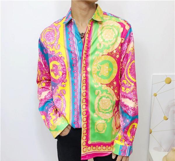 HOT 2019 Autumn winter Harajuku New wave Fashion luxury men shirt designer 3D Floral Print long sleeve mens Slim Fit Medusa Shirts
