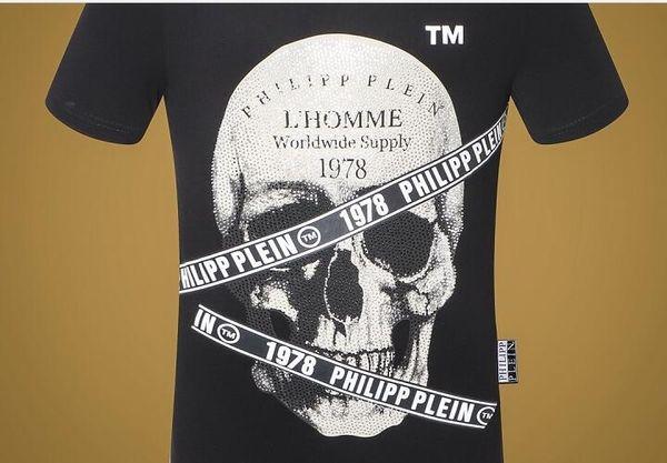 19ss Sommer-Straßenabnutzung Europa-Paris-Art- und Weisemänner Qualitätsschädel Baumwollt-shirt beiläufiges Männer T-Stück T-Shirt Freies Verschiffen 56875