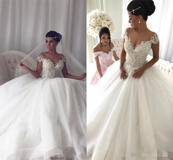 Newest Short Sleeve Ball Gown Wedding Dresses Appliques Beaded