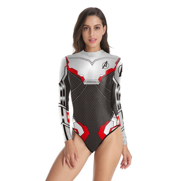 74de469ada New Design Summer Women Swimwear Avengers Endgame Quantum Realm 3D Printed  One Piece Swimsuit Zippered Long Sleeve