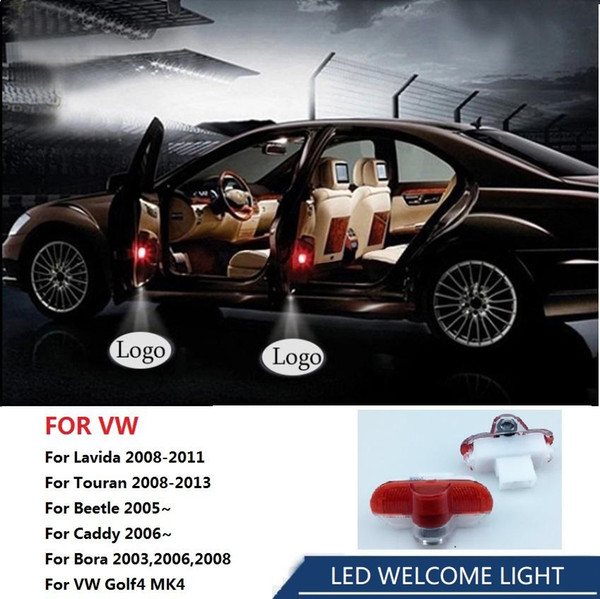 For VW Lavida Touran Beetle Caddy Bora Car Door Laser Projector Lamp 3D Ghost Logo Shadow Light Decorative LED Welcome Light