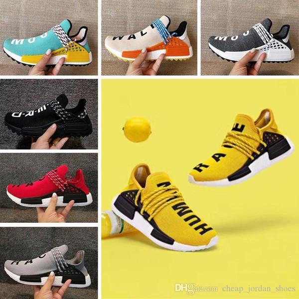 Human Fashion Race Pharrell Williams Men Women Running shoes Classic Hu trail NERD noble ink core black yellow Runner Sport Athletic Sneaker
