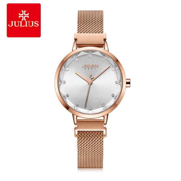 Магнитная пряжка женские часы Miyota Mov't Lady часы тонкой Моды Браслет из нержавеющей стали девушки подарок на День Рождения Julius Box