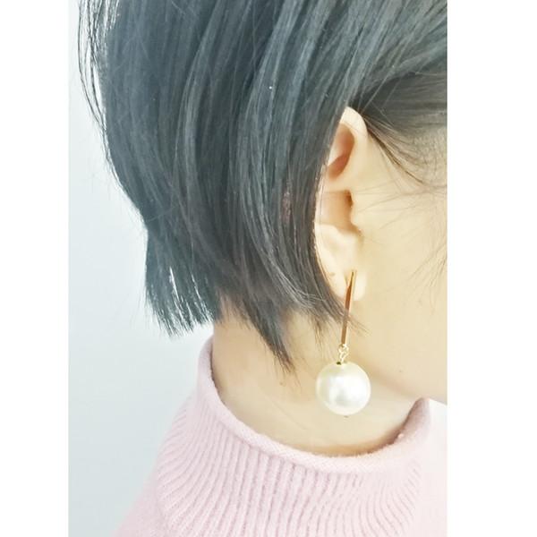 Latest Fashion Trendy Elegant Created Big Simulated Pearl Earrings Gold Plating Pearl Drop Earrings