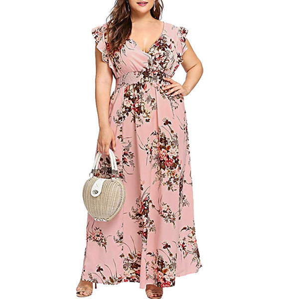 2019 Women Plus Size V Neck Summer Dress Floral Print Boho Short Sleeve  Party Maxi Dresses Butterfly Sleeve Long Dress Loose Slim From Lin_04,  $45.23 ...