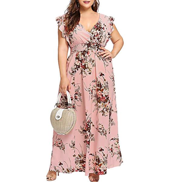 Женщины плюс размер V-образным вырезом летнее платье с цветочным принтом Boho с длинным рукавом платья макси с длинным рукавом платья бабочки