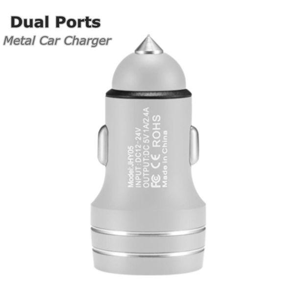 5V 2.4 Cargador de coche de metal Adaptador de carga rápida 18W Adaptador de coche USB de 2 puertos duales para Android iPhone Teléfonos celulares universales DHL gratis