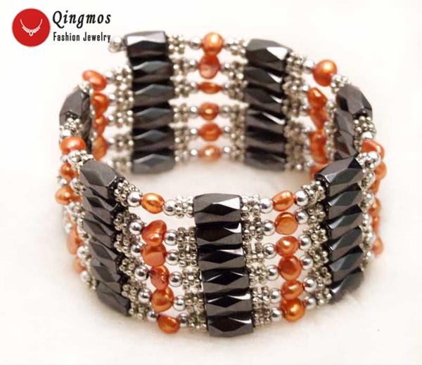 Qingmos Red Pearl Bracelet pour femmes avec 4-5mm Naturel Perle Baroque Noir Hématite Magnétique 38 '' Long Collier Bracelet b350