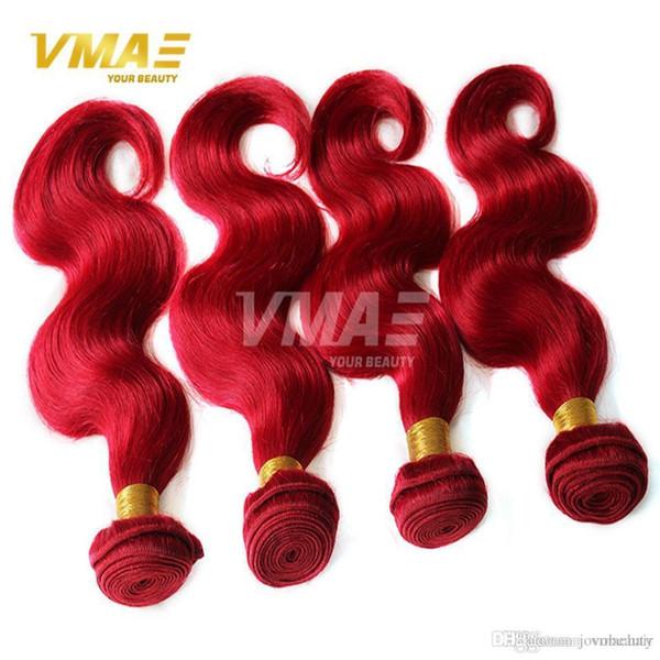 Brasilianisches natürliches Menschenhaar des Grad-9A bündelt rotes brasilianisches reines Menschenhaar spinnt Körper-Wellen-menschliches reines Farben-Haar