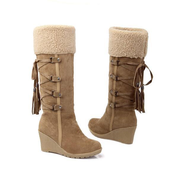 Free shipping autumn and winter large size 40414243 snow boots wedge with snow boots high boots2