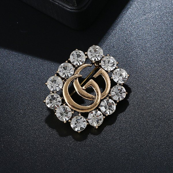 Crystal Letter G Brooch For Women Fashion Statement Good Color Brooches Pin Clothes Accessories Jewelry Gift Dropshipping