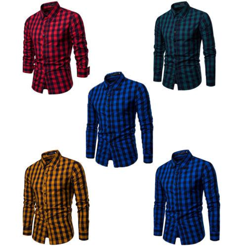 2019 Nuovi uomini Button Down Slim Fit a maniche lunghe Business Plaid Shirt Top Modern S-2XL 4 colori