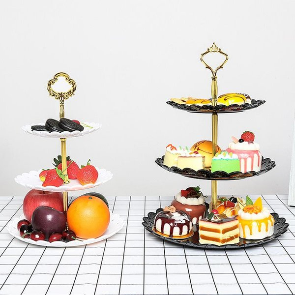 Wedding Dessert Rack Plastic Three Layers 4 Colors Hollowing Out Reusable Living Room Candy Dessert Racks Fruit Plate Party Decoration