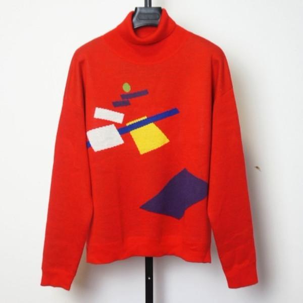 Nova Chegada 18AW GOSHA Natal Red Knit Turtleneck Cabeça Solta Confortável Homens E Mulheres de Grandes Dimensões VERMELHO Moda Camisola